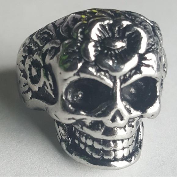 skull Other - Skull Roses Punk Rock Biker Ring Gothic VTG Metal